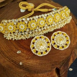 Yellow Choker Set with Earrings for Women