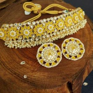 Yellow Choker Set with Earrings for Women