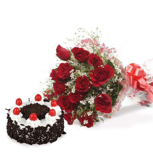 12 Red Roses & black forest Cake Combo
