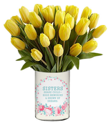Tulips For Sis Personalized Vase