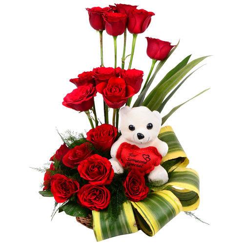 Basket of Roses & Teddy