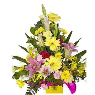 Yellow and pink  arrangement