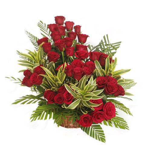 40 Red Roses In a Basket Arrangement