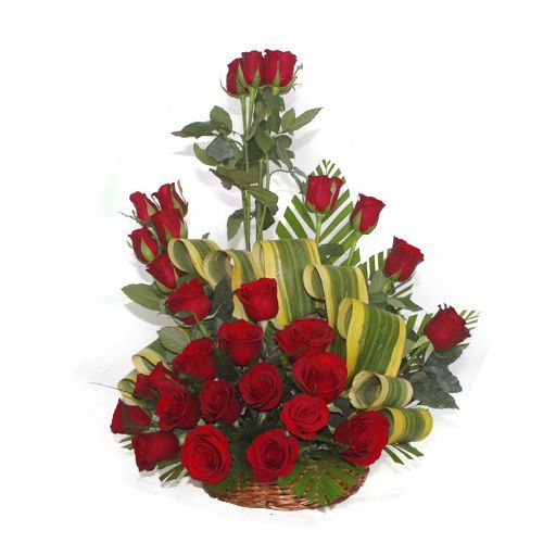 30 Red Roses In a Basket Arrangement one side View