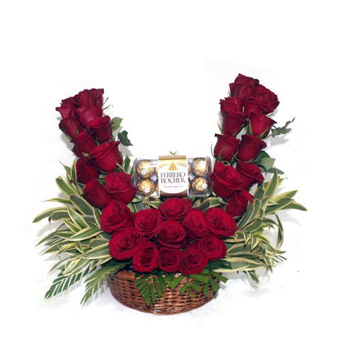 V Shaped Flowers with Chocolates Love