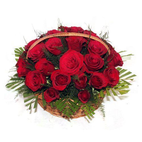 30 Red Roses Handle Basket
