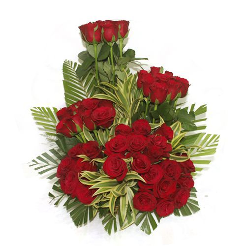 60 Red Roses Basket Arrangement - One Side View