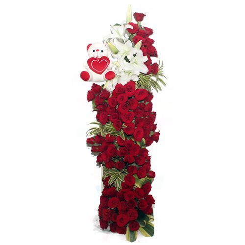 5 Feet Tall Arrangement of Flowers and Teddy
