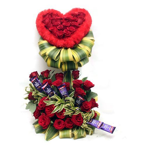 2.5 Feet Tall Arrangement of Red Roses with chocolates