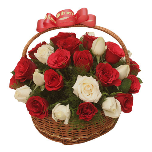 White and Red Roses Basket