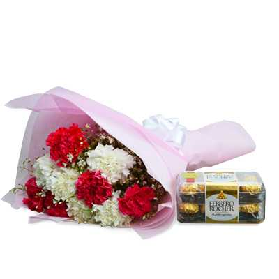 Send Housewarming Party Flowers Red And White Carnation With Ferrero Rochers To Sister By Flower Delivery