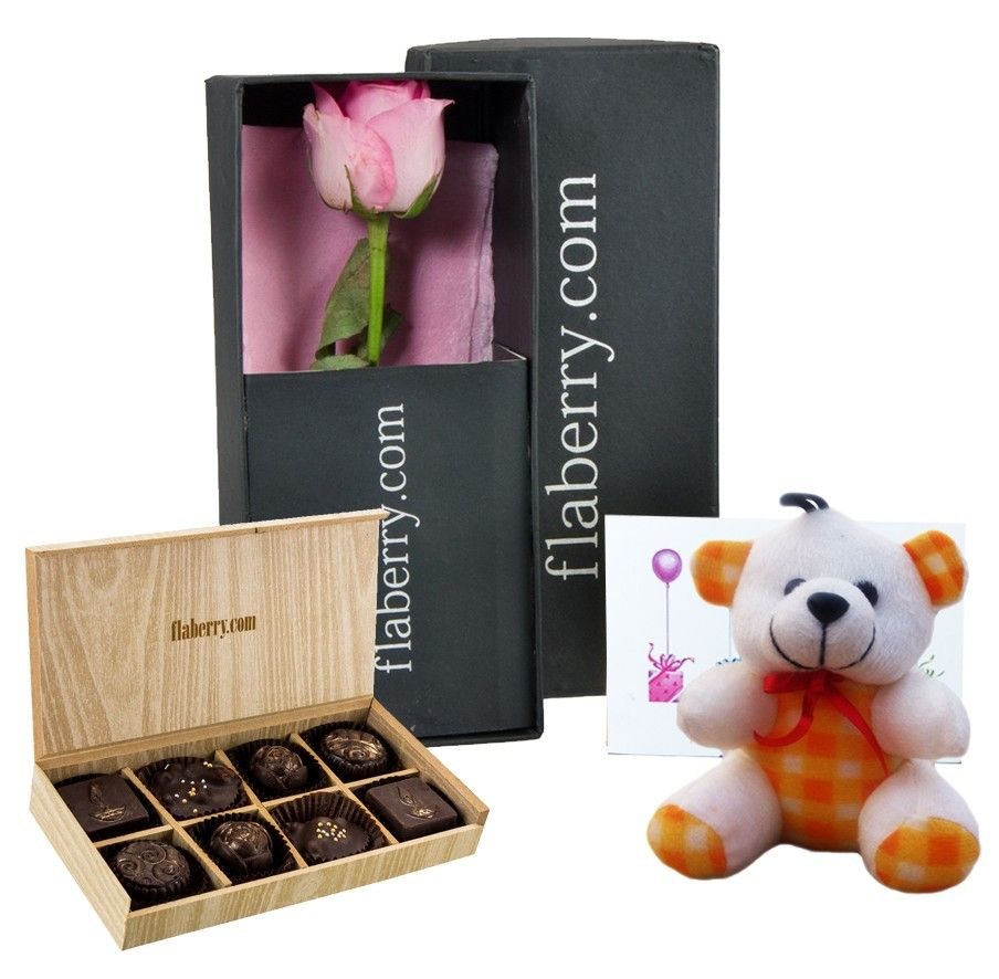 Pink Rose with Teddy and 8 Chocolate Cubes