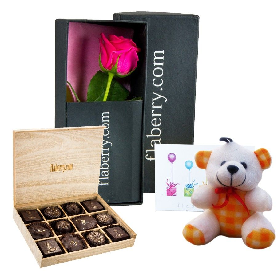 Red Rose with Teddy and 12 Chocolate Cubes