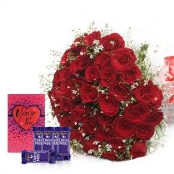 50 Shades Of Red  with Dairy Milk Chocolates and A Greeting Card