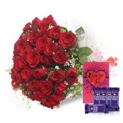 A Classic Rose Collection with Dairy Milk Chocolates and A Greeting Card