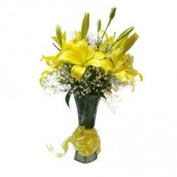 Vase of Yellow Lilies