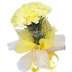 Bunch of 10 Yellow Carnations