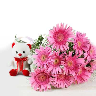 Bouquet and Soft Toy