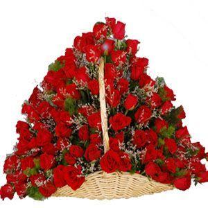 100 Red Rose Basket