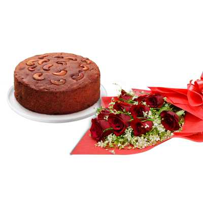 Red Roses with Plum Cake