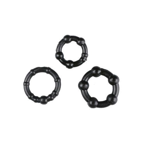Trinity Vibes Black Performance Erection Rings - Packaged