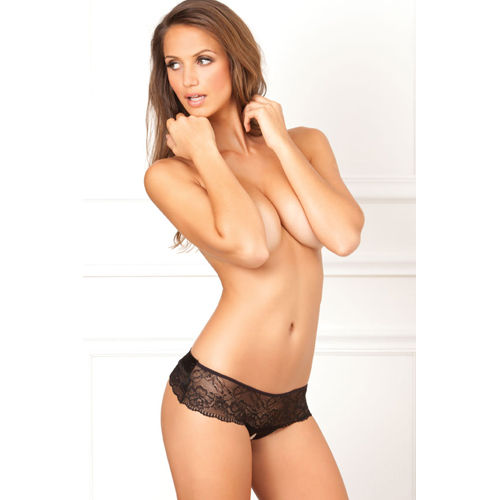 Rene Rofe Cross Loos lace panties with large satin bow