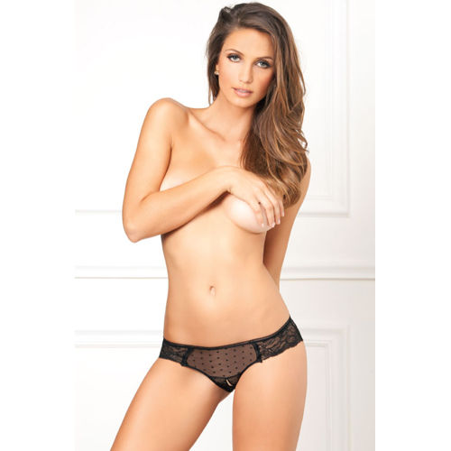Rene Rofe Crotchless lace and dots panty
