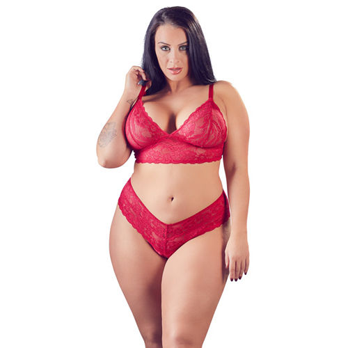 Cottelli Collection Lace Bra Set With Open Crotch