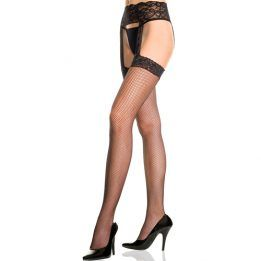 Music Legs Lace garter set with fishnet stockings
