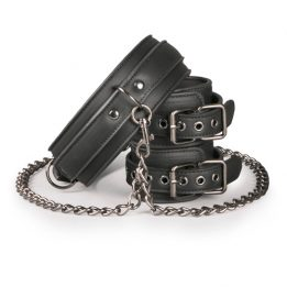 Easytoys Fetish Collection Leather Collar With Handcuffs