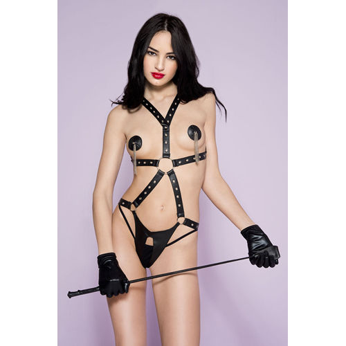 Music Legs Leather-Look Body Harness With Open Crotch
