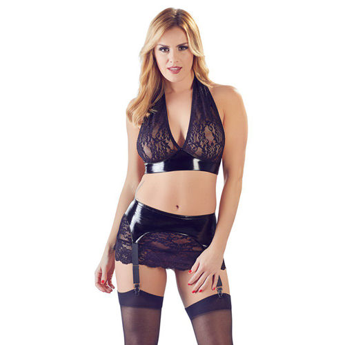 Black Level PVC Top & Suspender Skirt With Lace