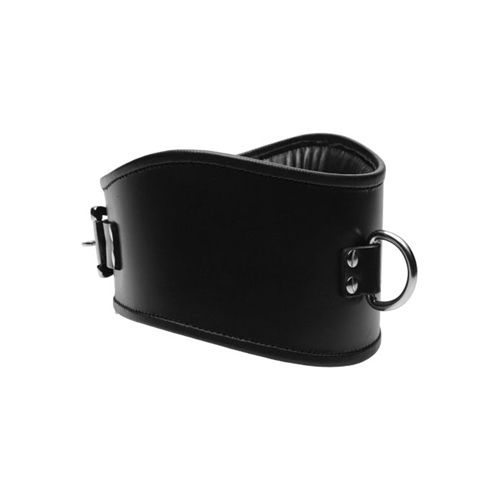 Strict Leather Padded Leather Locking Posture Collar