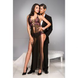 Music Legs Sheer gown with multiple strap detail and extra high side slits with matchi