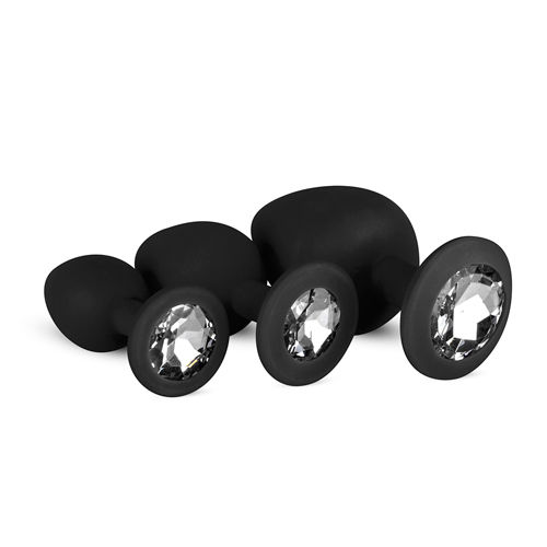 Easytoys Anal Collection Silicone Buttplug Set with Diamond - Black