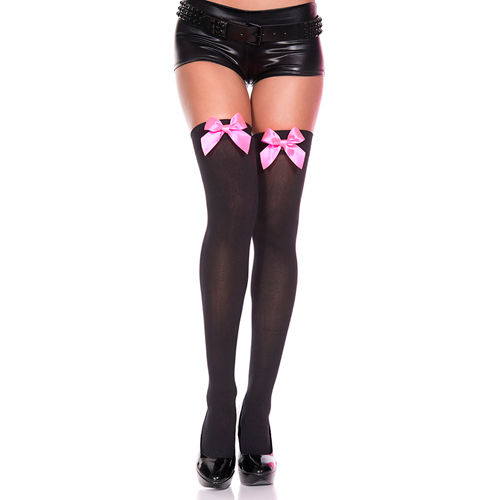 Music Legs Thigh High Stockings With Pink Bow