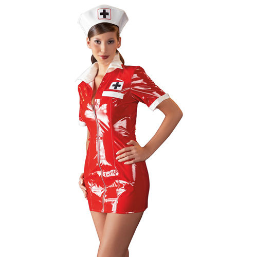 Black Level Vinyl Nurse Dress red