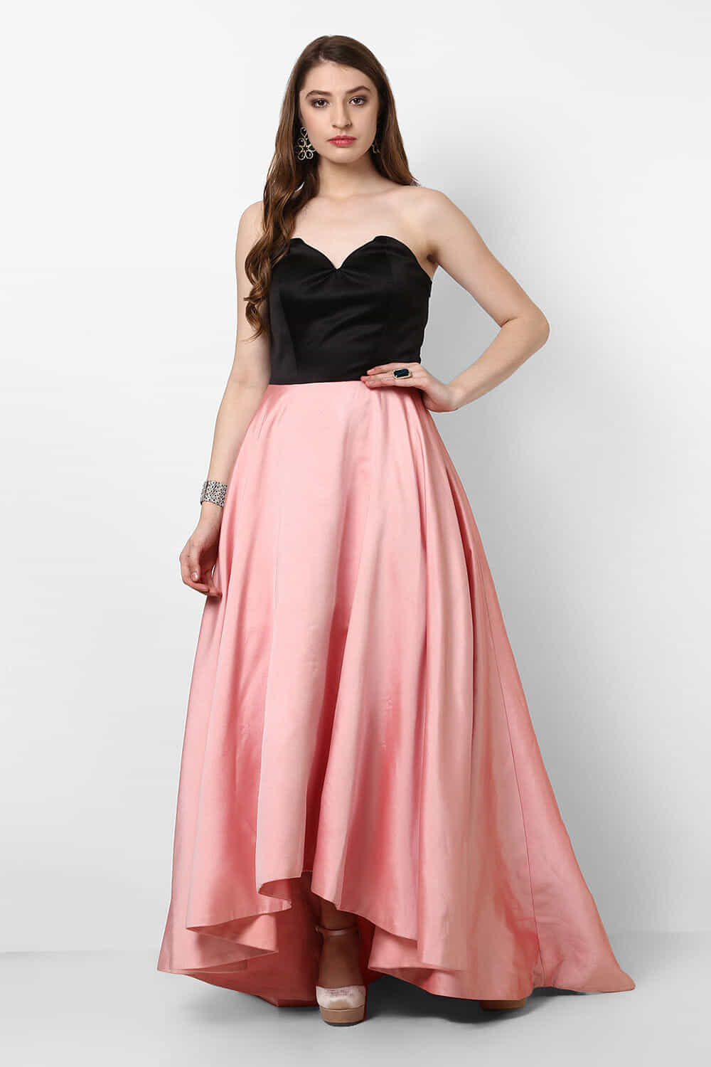 Rent AIRA BY GARIMA - Black And Pink Satin Gown