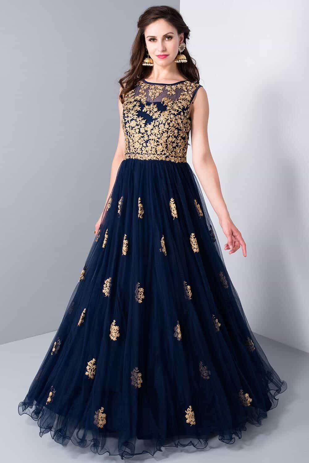 Buy KALKI - Midnight Blue Embroidered Evening Gown