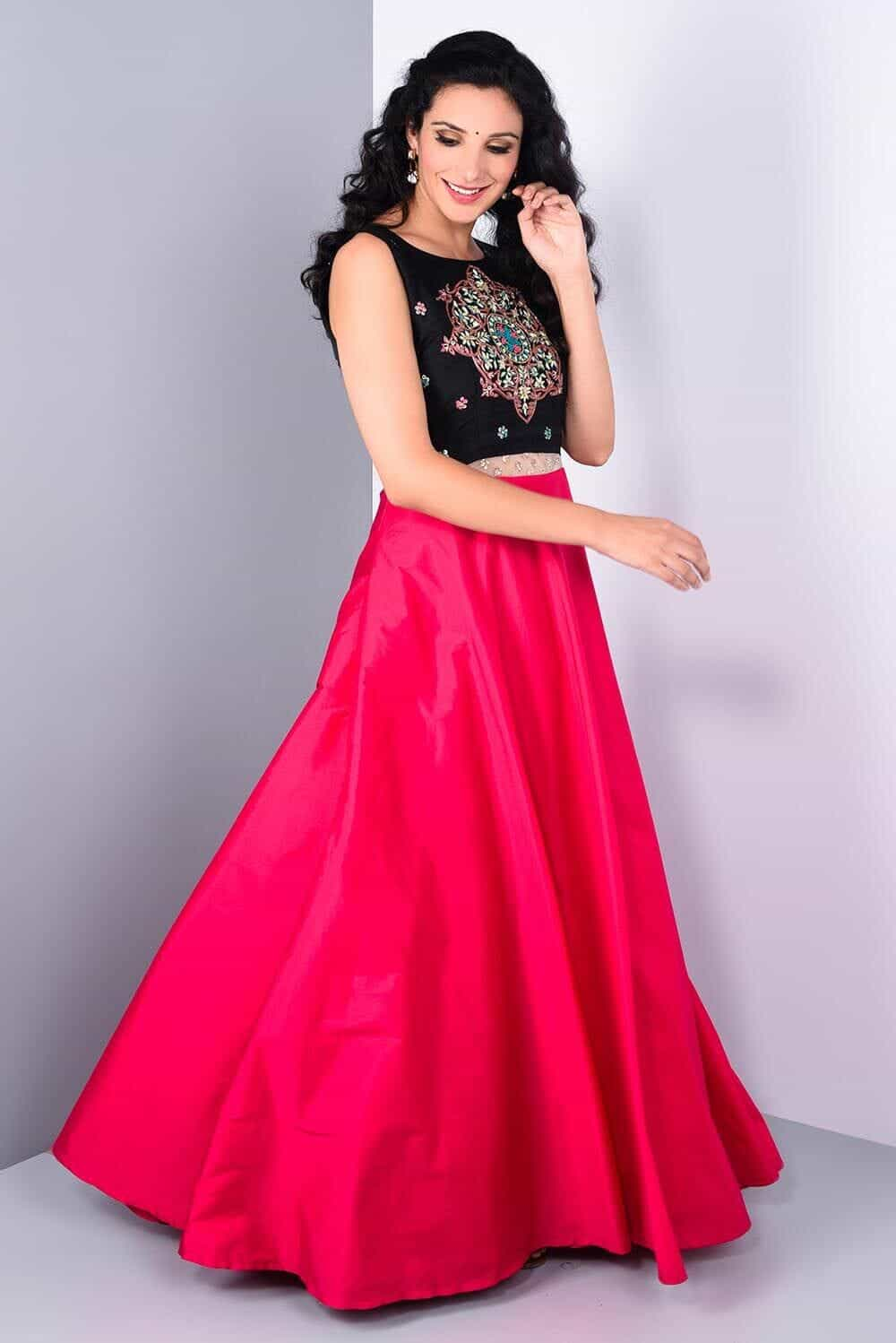 d5cc3f6bf4ec0 Wedding Dress Gown, Rent STUDIO 41 JAIPUR Pink and black embroidered Gown  at Flyrobe ...