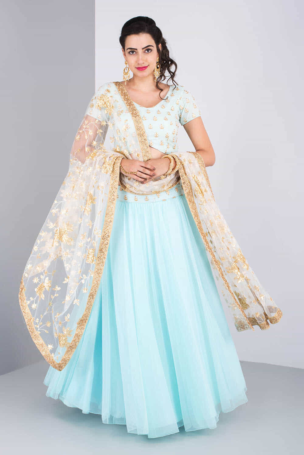 Rent THE PEACH PROJECT - Sky Blue Lehenga Set