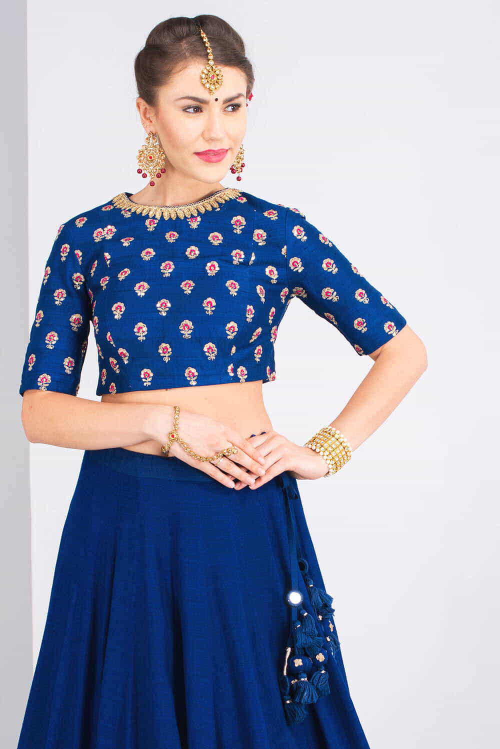 614ce2a30dad9f Royal Blue Blouse For Wedding | Toffee Art