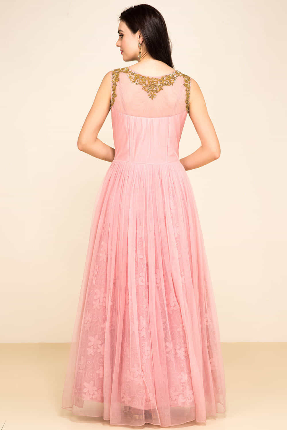 Rent HOUSE OF OMBRE - Pink Embroidered Gown