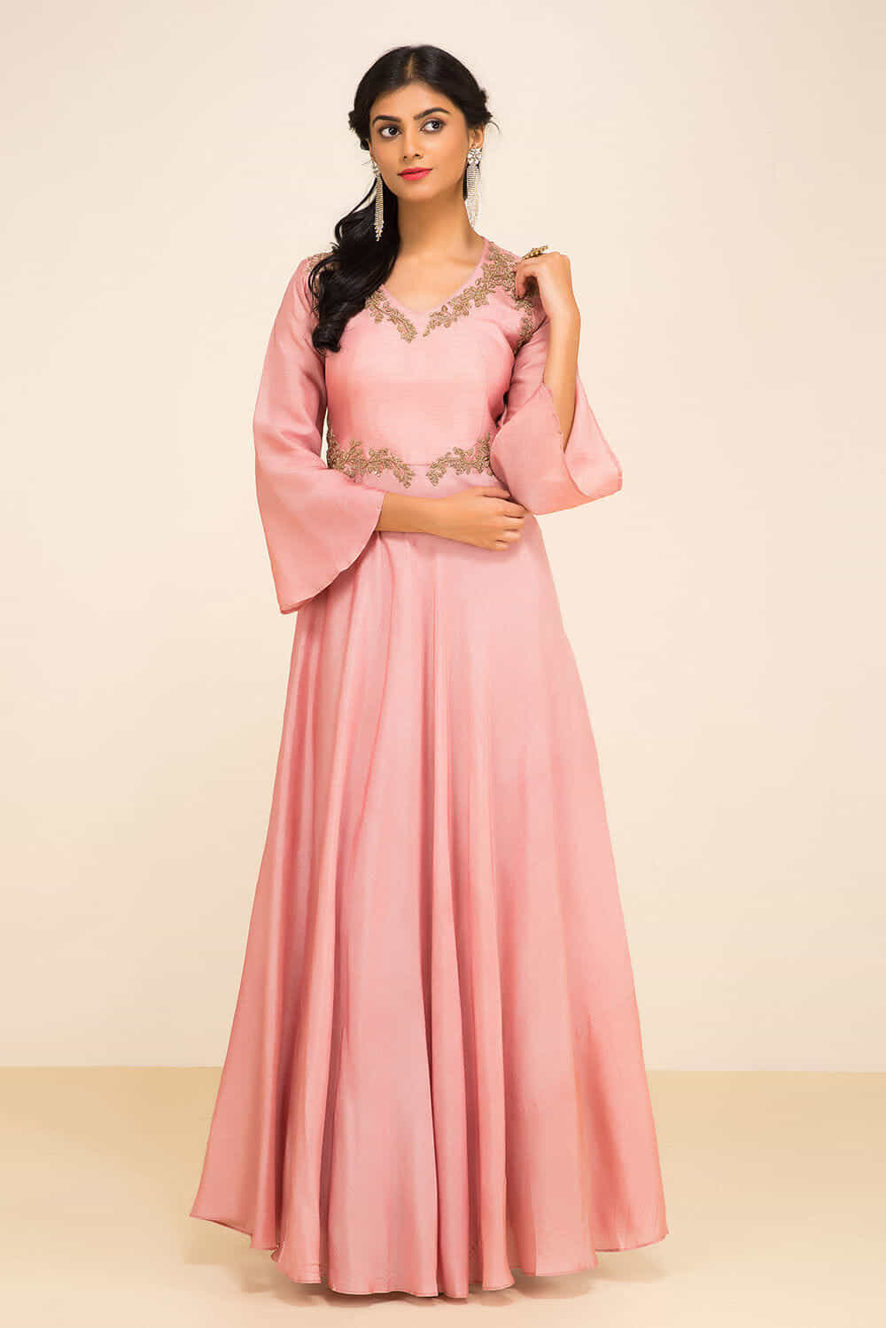 Rent ZAYAH - Pale Pink Bell sleeve Gown