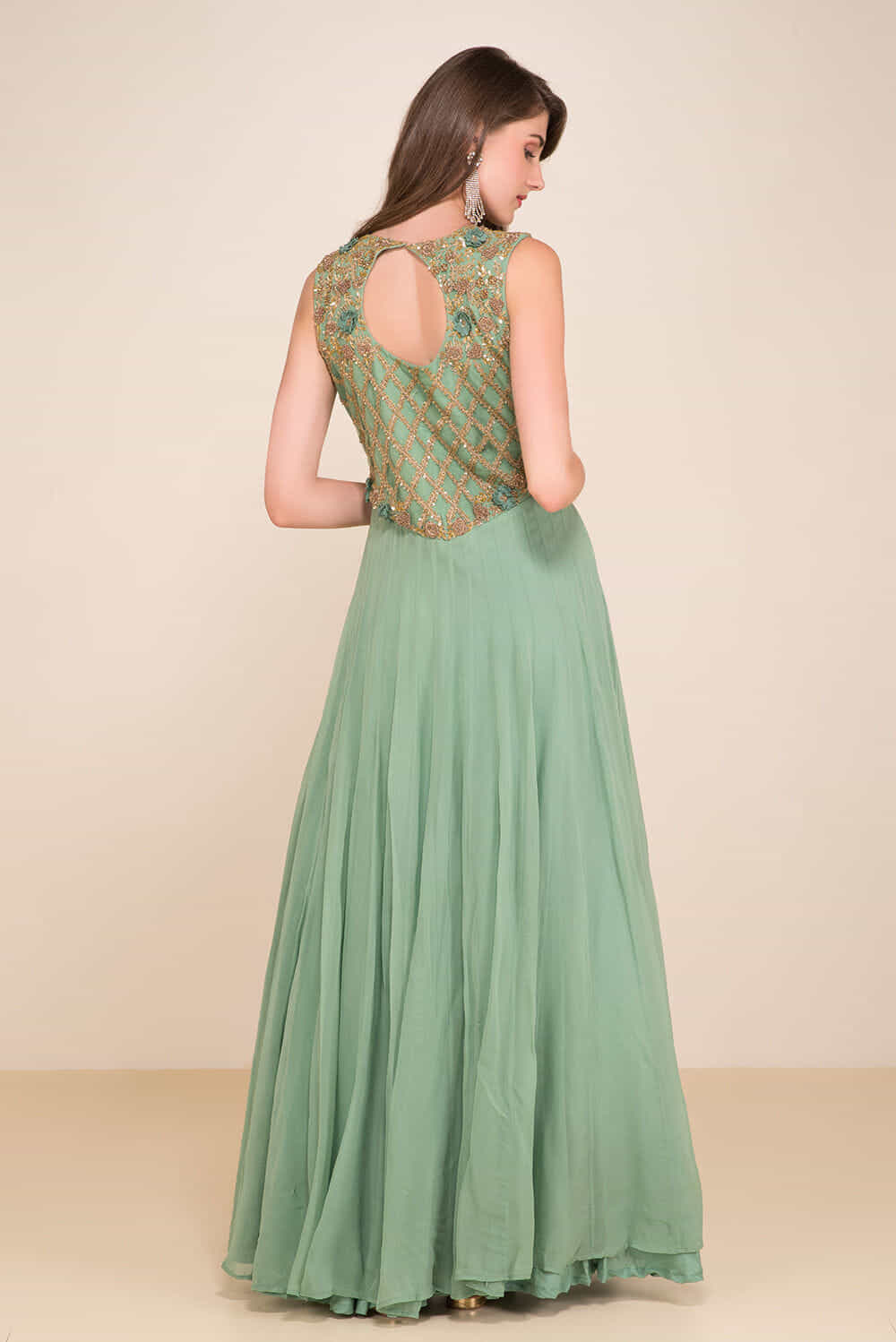 Rent HOUSE OF OMBRE - Olive Green Embroidered Gown