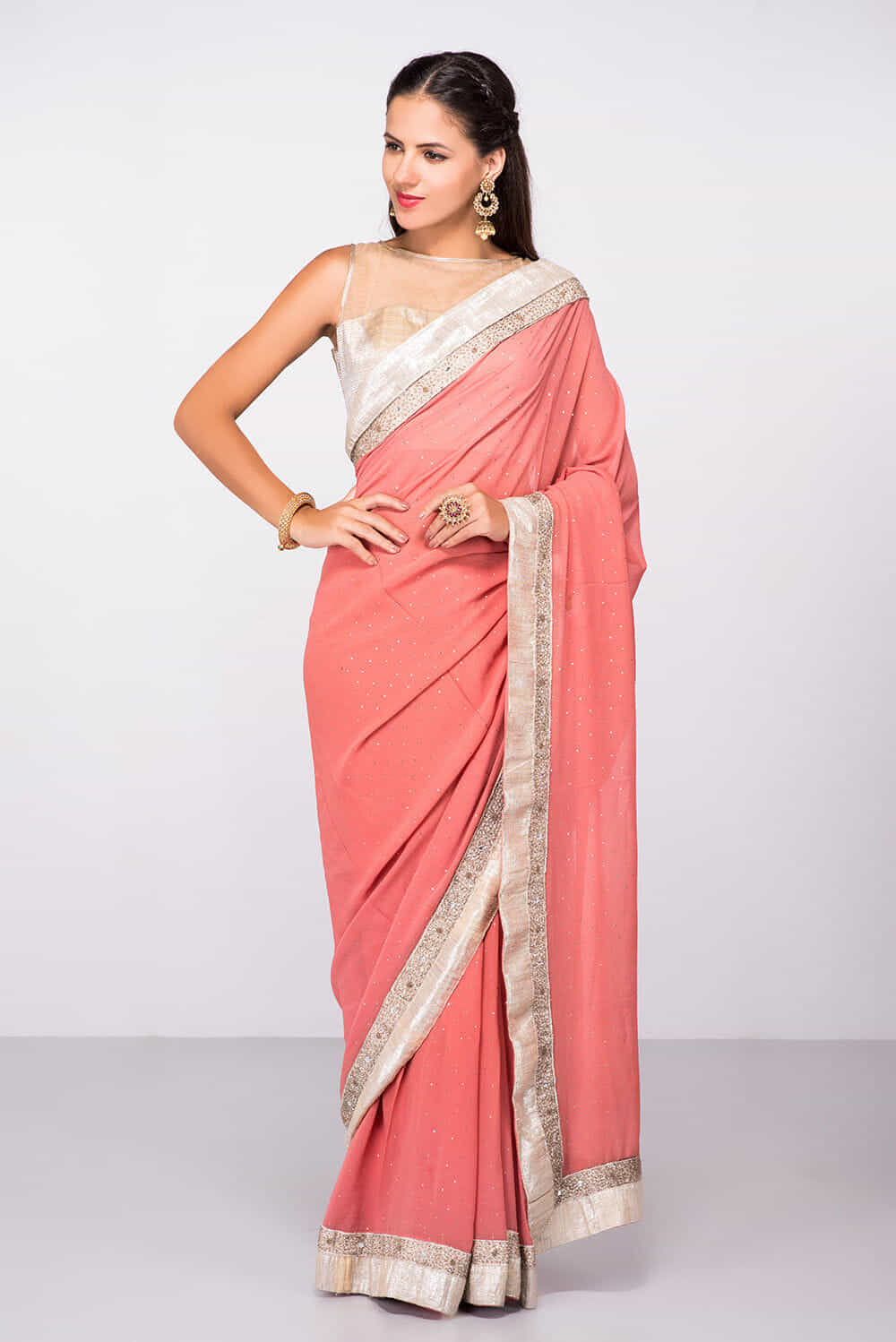 3e8556deabcc4e Silver Blouse With Pink Saree