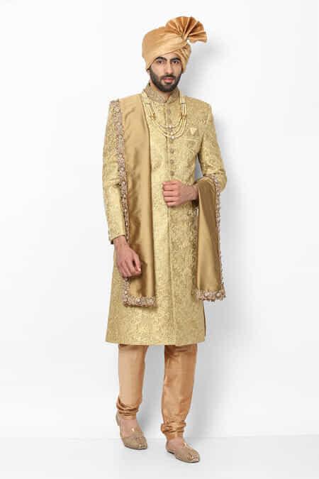 7a869e7358 Golden Sherwani For Groom, Golden Sherwani for Wedding Online - Flyrobe