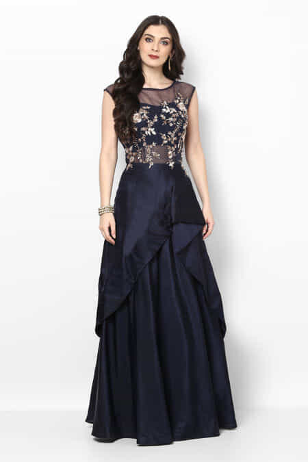 Azra Midnight Blue Embroidered Ethnic Evening Gown