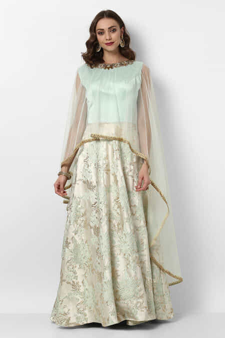 2da001be08653 CUSTOM FIT Gently Used zayah-pastel-green-ethnic-gown-with-cape-legging