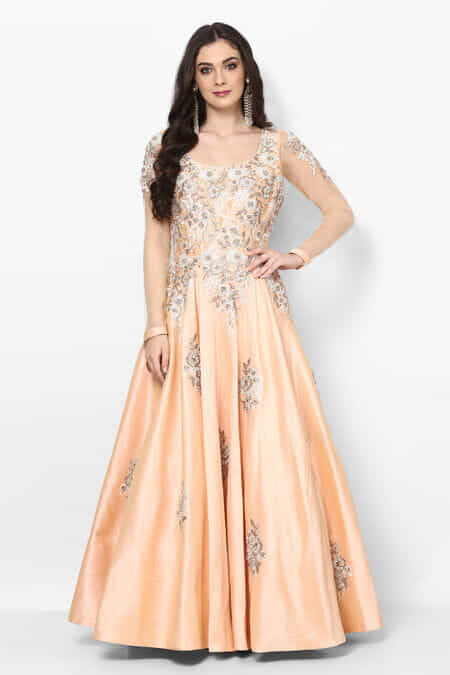 Her Closet Peach Embroidered Ethnic Gown